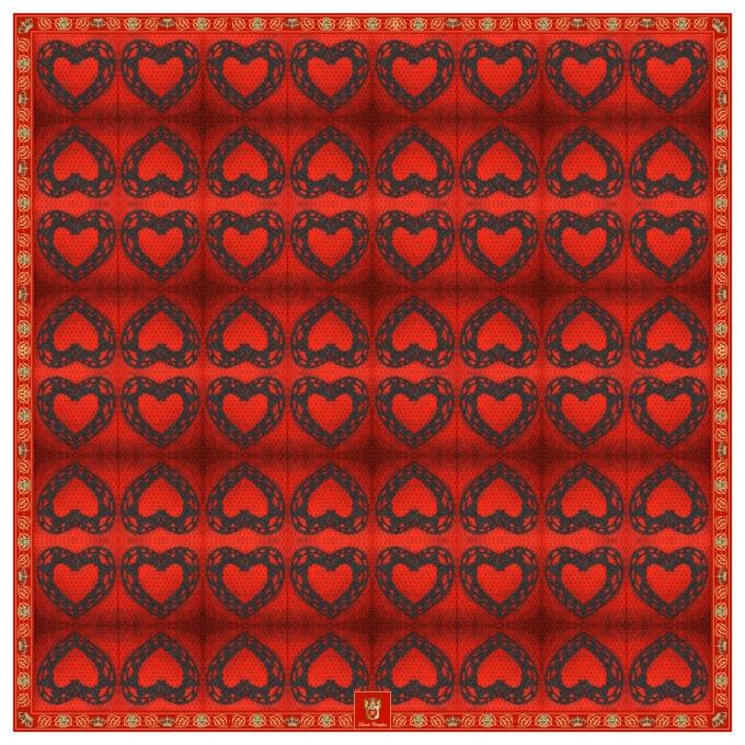 RUBY SILK FOULARD 90 x 90