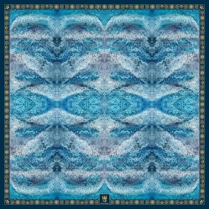Spring / Summer SILK SHAWL DEEP BLUE 140X140