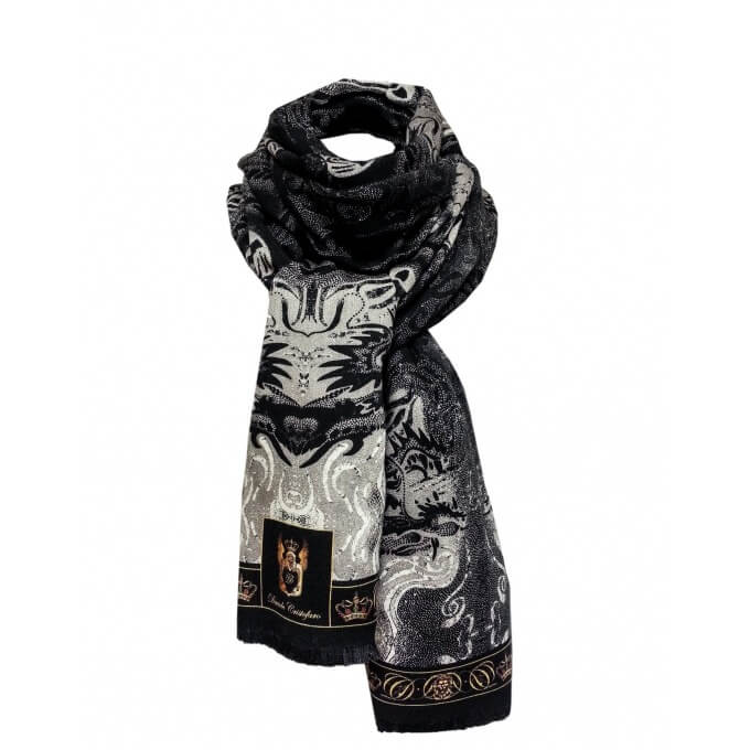 Autumn / Winter CASHMERE BLEND SCARF DARKNESS DRAGON 70X200