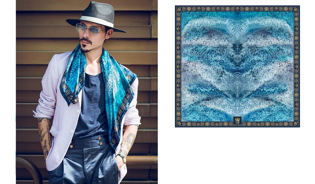 Guglielmo Giovannoni wears silk scarf Deep Blue by Davide Cristofaro