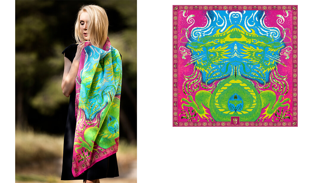 Marketa Silna wears silk scarf Dragon by Davide Cristofaro